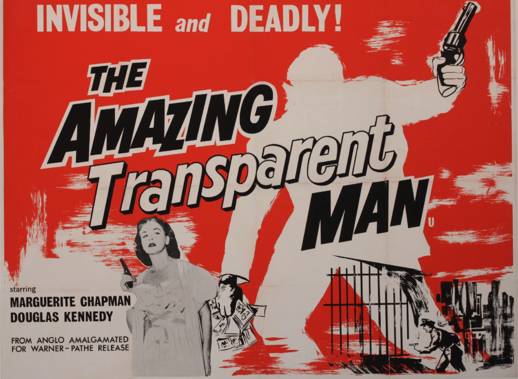 British THE AMAZING TRANSPARENT MAN released July, 1960